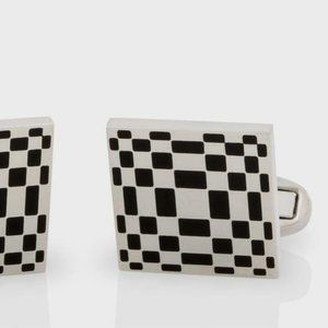 PAUL SMITH London CUFFLINKS Branded SQUARE Black